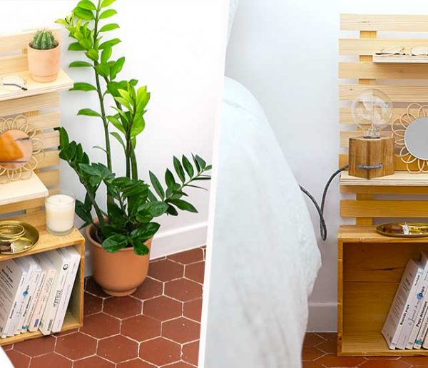 Tuto : Réalisez une jolie table de nuit gain de place avec une caisse à vin et des tasseaux