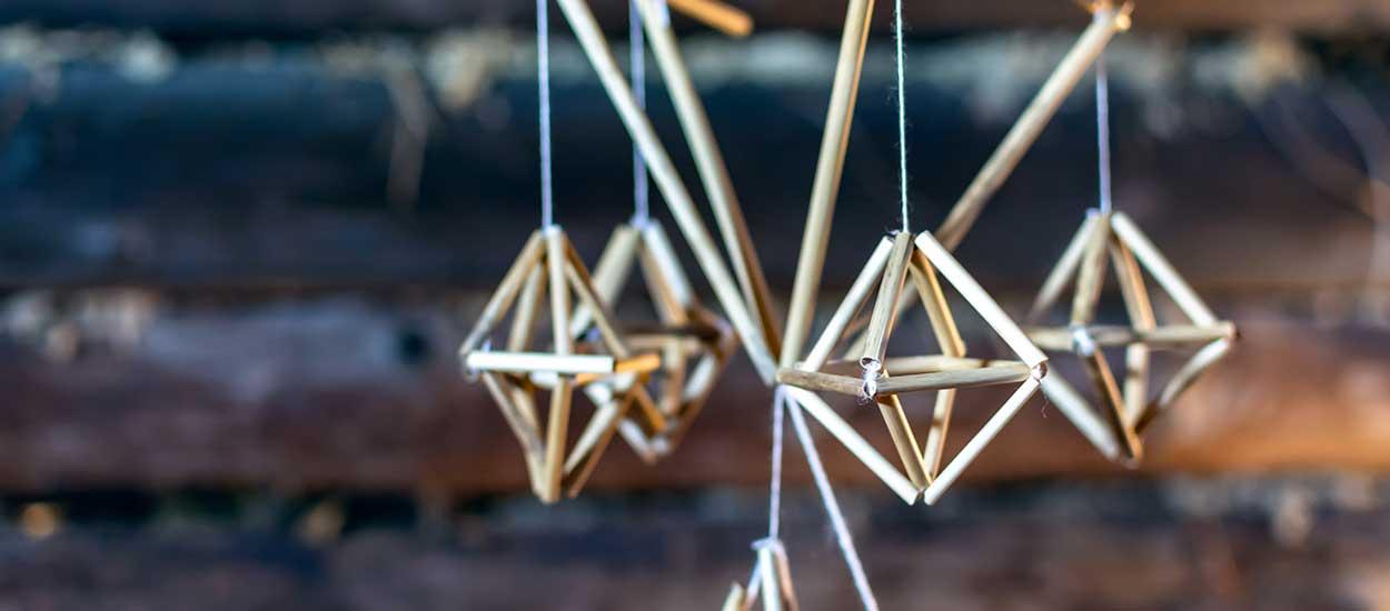 Inspiration scandinave : 10 idées pour fabriquer des suspensions en Himmeli pour Noël