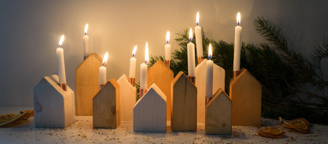 Tuto : Réalisez un petit village de Noël illuminé avec des bougeoirs