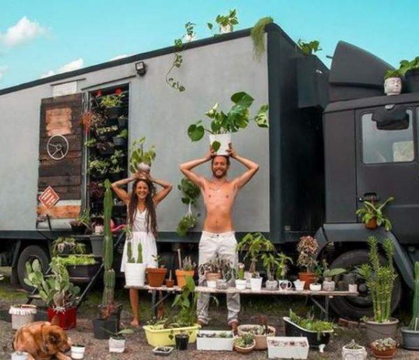 Ils vivent en camion avec plus d'une centaine de plantes (et les emmènent à travers l'Asie)