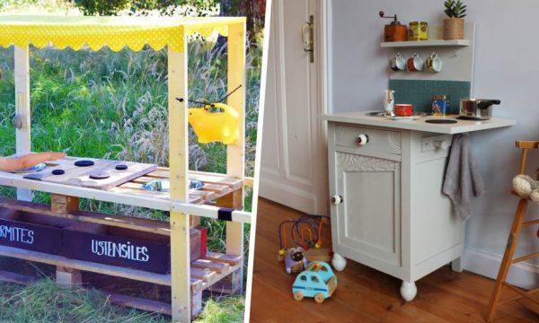 Les meilleures idées pour fabriquer une kitchenette en bois à vos enfants