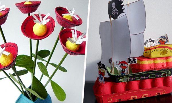 6 idées DIY pour fabriquer des objets déco en boîtes d'oeufs avec vos enfants