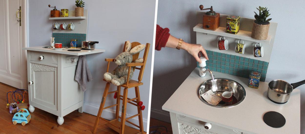 Tuto : Transformez une table de chevet en kitchenette pour enfant