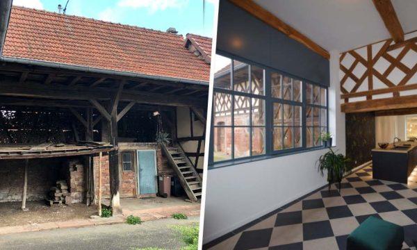 Avant / Après : Cet ancien corps de ferme alsacien retrouve vie grâce à une verrière spectaculaire