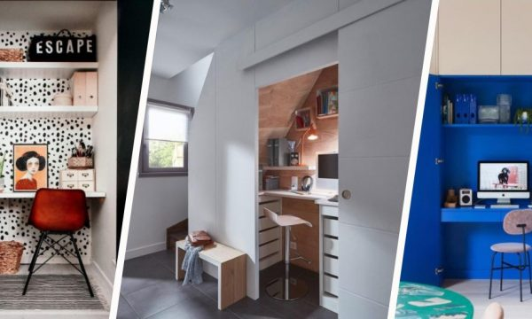 7 inspirations pour aménager un bureau dans un placard (oui, c'est possible !)