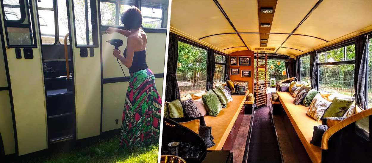 Avant / Après : Elle transforme un bus scolaire en chaleureuse chambre d'hôtel