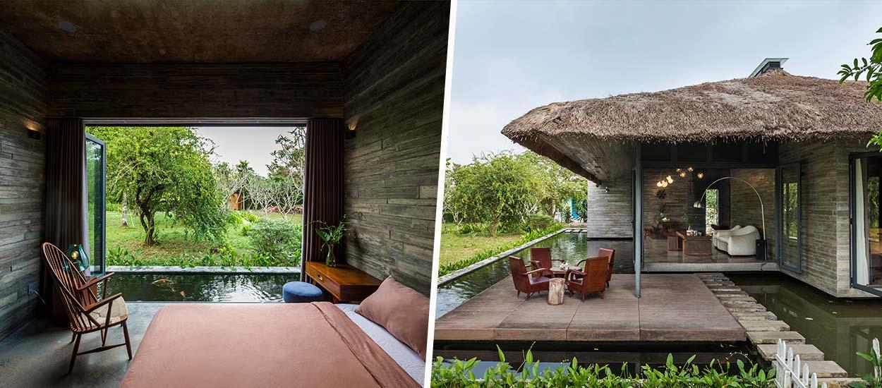 Cette maison vietnamienne au toit de chaume s'intègre parfaitement à la nature