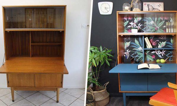 10 inspirations pour customiser vos vieux meubles avec des restes de papier peint