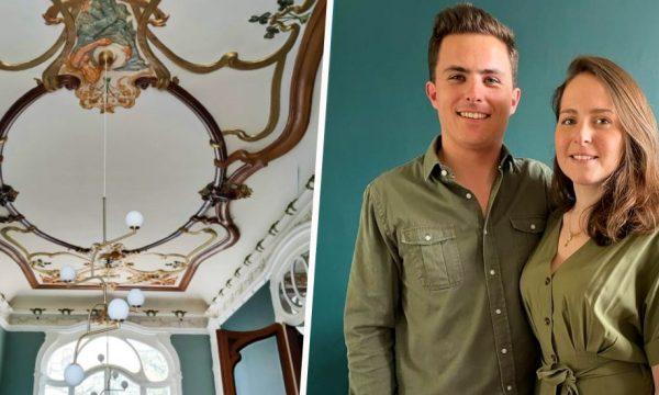 Entre fresques peintes et moulures d'époque, ce jeune couple rénove une incroyable villa Art Nouveau