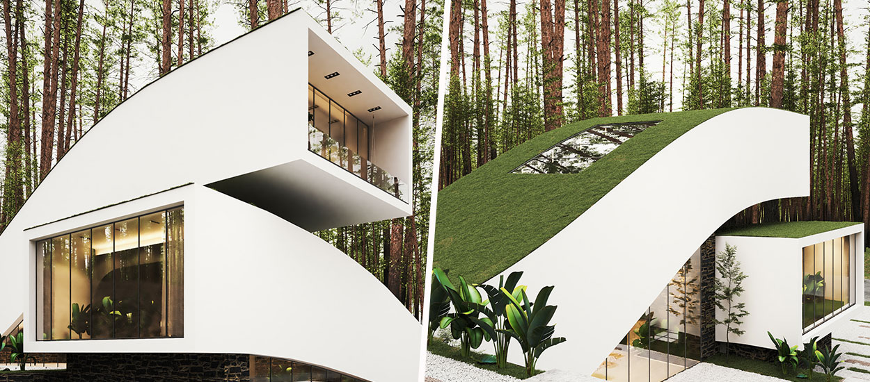 Découvrez cette étonnante maison d'architecte au toit végétalisé recouvert de gazon
