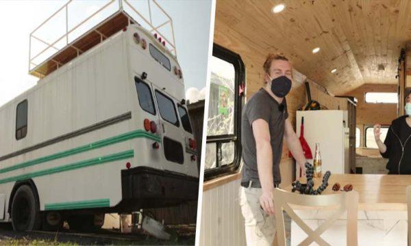 Ce couple a transformé un bus scolaire en tiny house avec une terrasse !