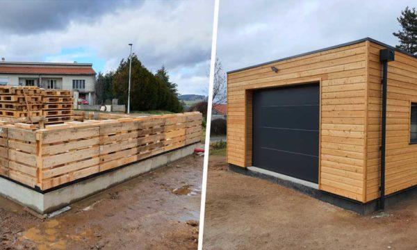 Construction écologique : ce garage a été monté avec des palettes de récupération