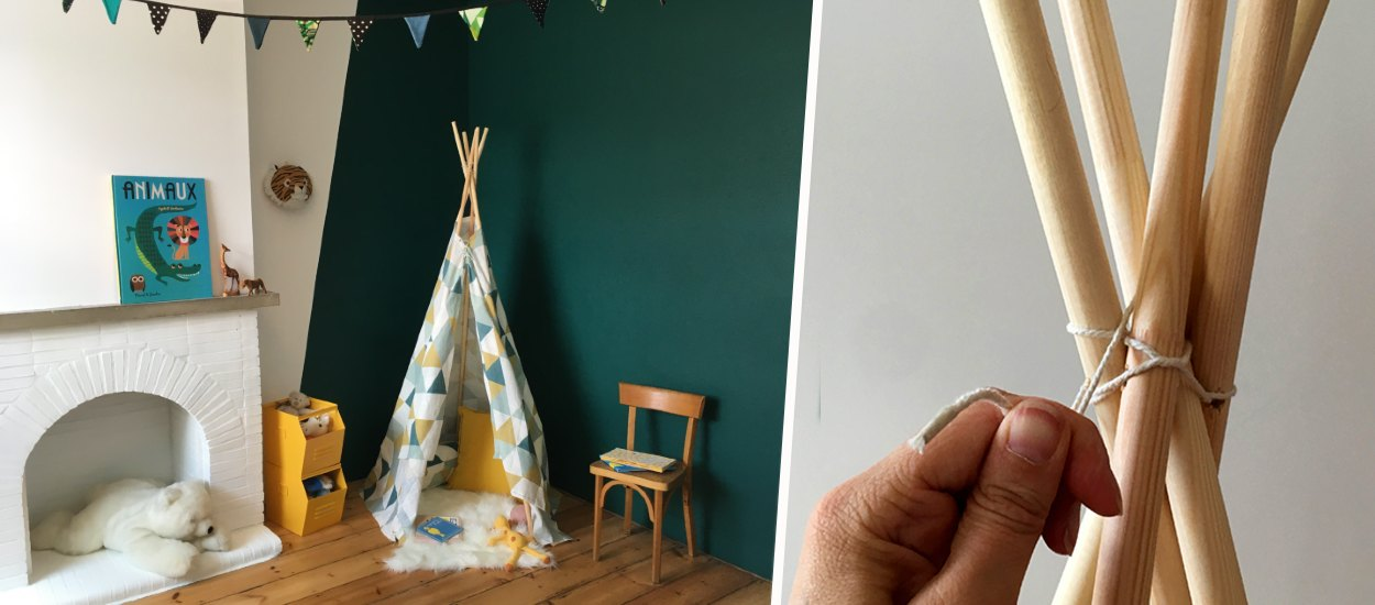 Tuto : Fabriquez un tipi pour vos enfants avec un rideau récup' et 5 tourillons